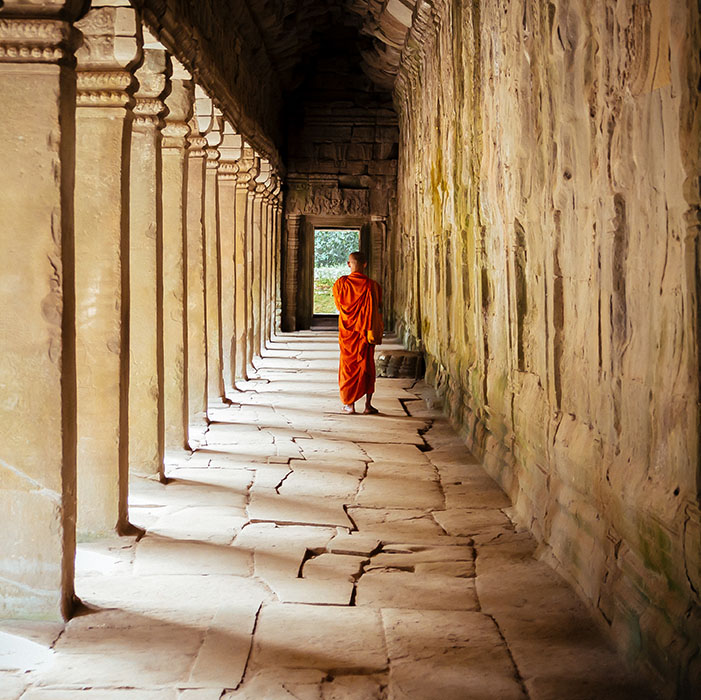 Temple, moine bouddhiste, Angkor, Cambodge