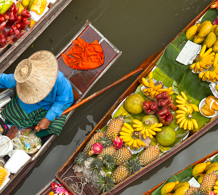 Thaïlande, Marché flottant, Fruits