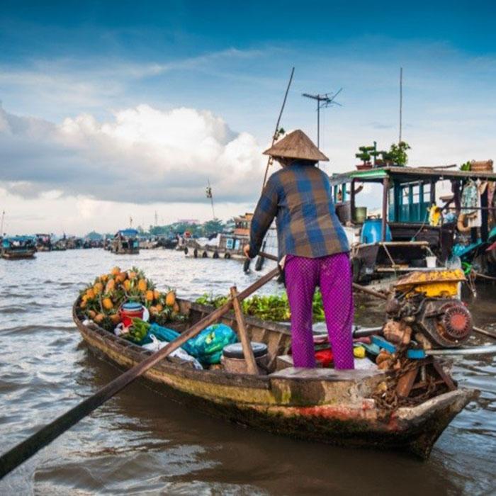 Marché flottant, Long Xugen, Vietnam