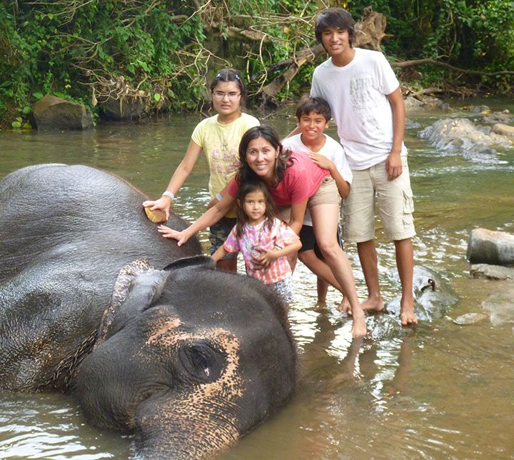 Famille, Centre pour éléphants, Sri Lanka