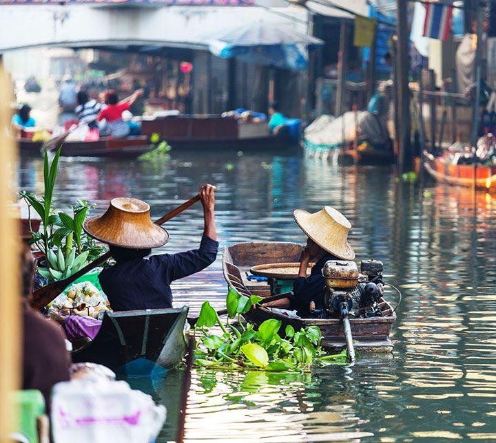 Thaïlande, Marché flottant, Bateaux